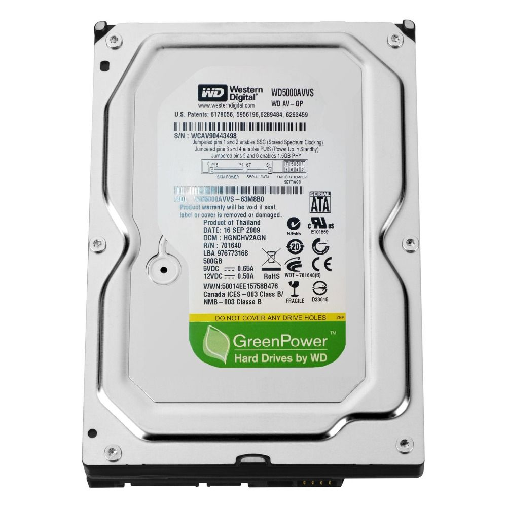 Жесткий диск Western Digital WD5000AVVS 500Gb 5400rpm 8Mb SATA2